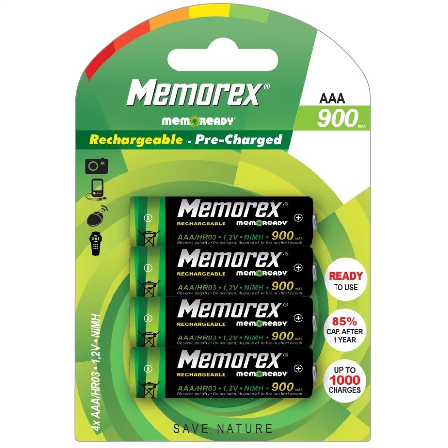Dobíjateľný MEMOREX 900 mAh R03 / AAA x 4 BL Pripravený NiMH A0783