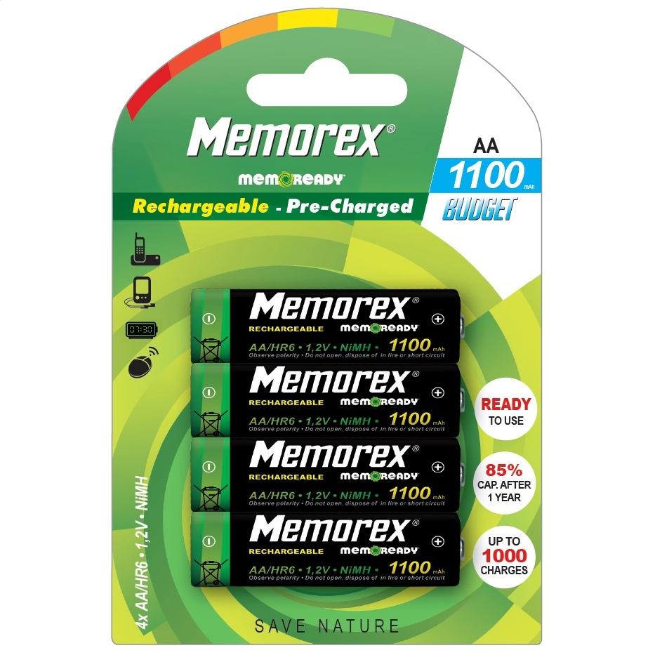 Dobíjateľný MEMOREX 1100 mAh R6 / AA x 4 BL Pripravený rozpočet A0785