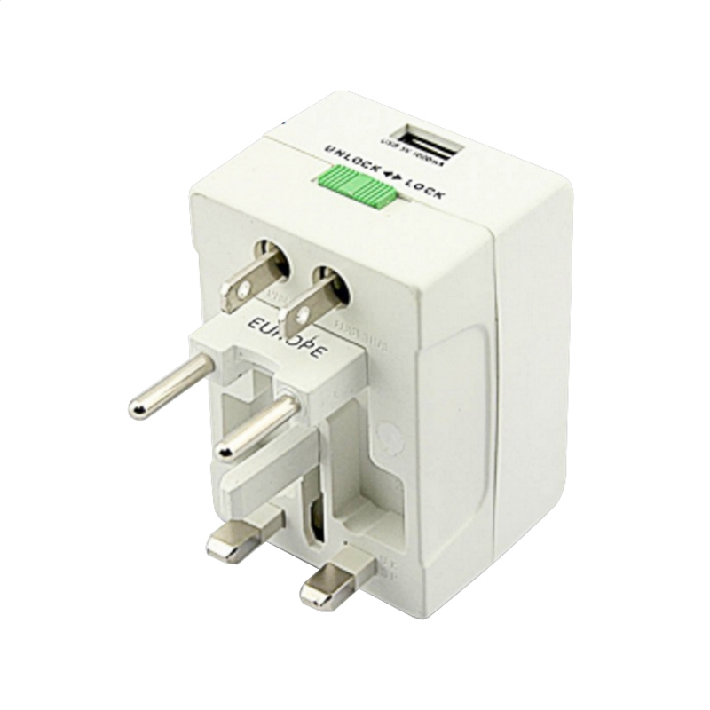 OMEGA POWER TRAVEL ADAPTER 220-250V 4 V 1 + USB PORT