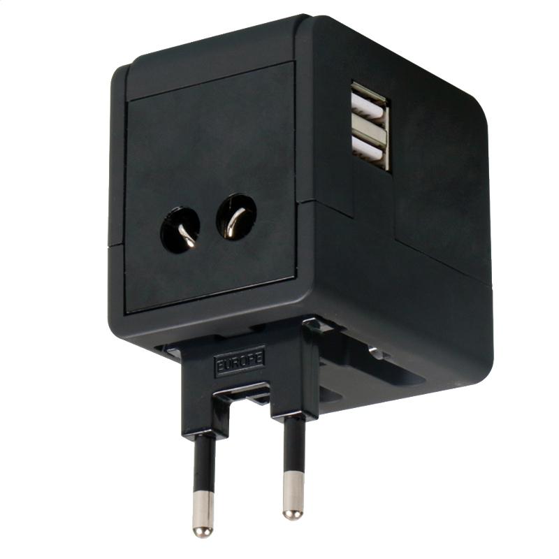 OMEGA POWER TRAVEL ADAPTER 220-250V 4 v 1 S USB NABÍJAČKA ČIERNA