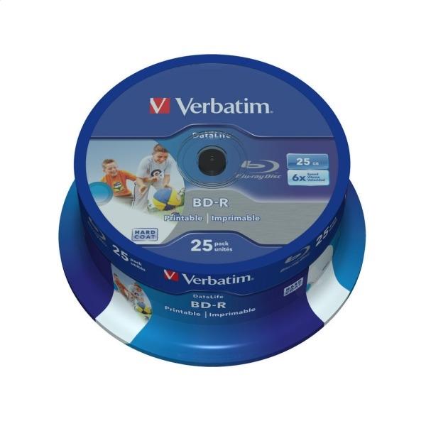 VERBATIM BD-R BLU-RAY 25 GB, 6x ŠIROKÁ PRINCÍPNA DOBA * 25 43811
