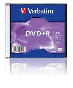 VERBATIM DVD + R 4,7 GB 16x SLIM CASE * 1 43515