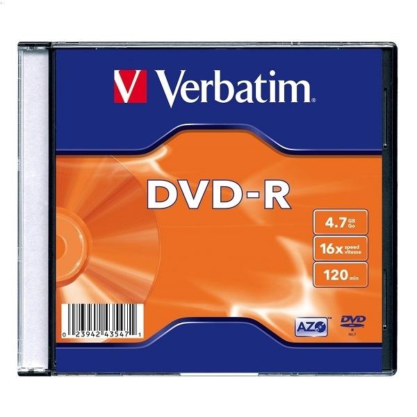 VERBATIM DVD-R 4,7 GB 16x SLIM CASE * 1 43547