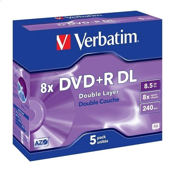 VERBATIM DVD + R 8,5 GB 8X DVOJITÝ VRSTVOVÝ KOTÚČ * 5 43541