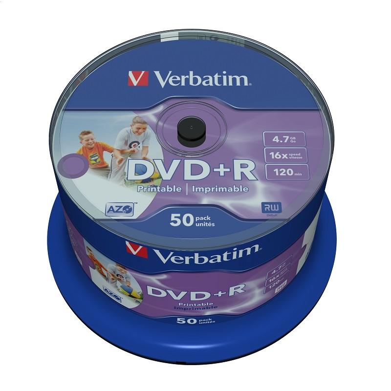 VERBATIM DVD + R 4,7 GB 16x PRINTABILNÝ PLNÝ KAZET * 50 43512