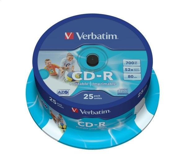 VERBATIM CD-R 700MB 52X AZO PRINTABLE ID ZNAČKA * 25 43439