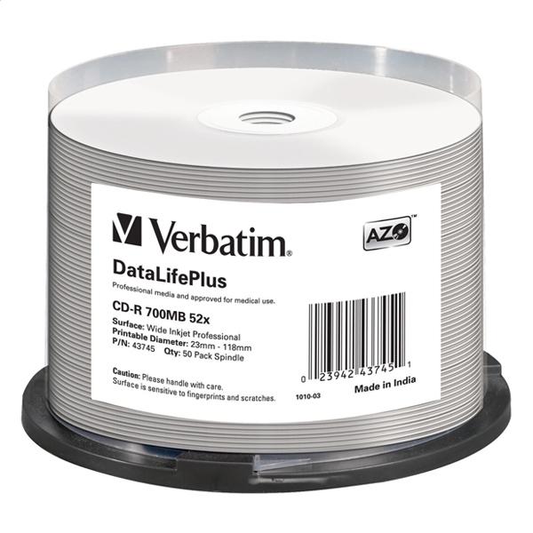 VERBATIM CD-R 700MB 52X AZO WIDE PRINTABLE NO ID CAKE * 50 43745