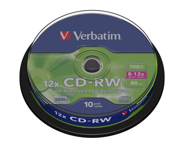 VERBATIM CD-RW 700MB 8-12X CAKE * 10 43480